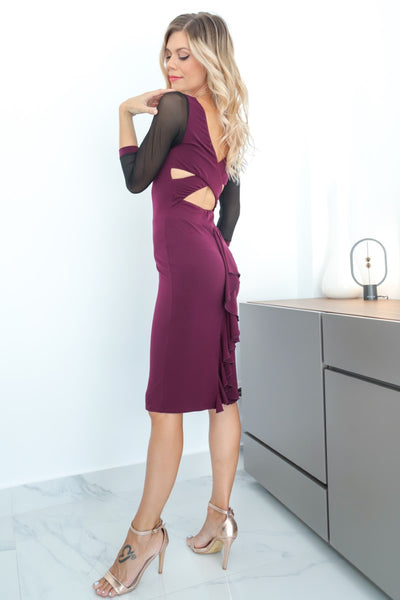 Eggplant Dress With Crisscross Back & Tulle Sleeves