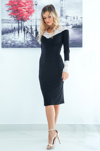 Black Tango Dress with Lace Décolletage