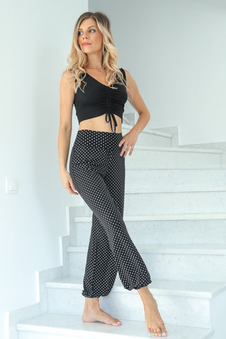 Black Polka Dot Gathered Tango Pants