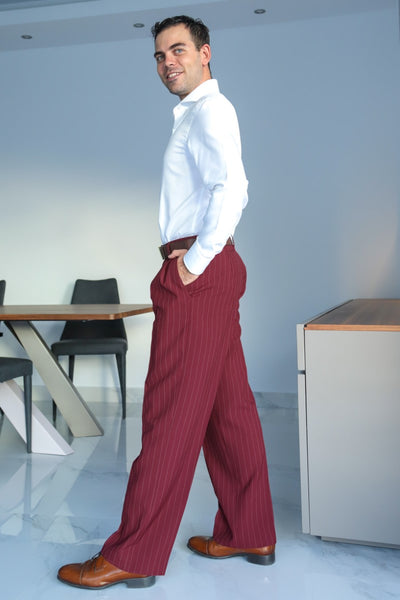conSignore Men's Striped Burgundy Tango Pants