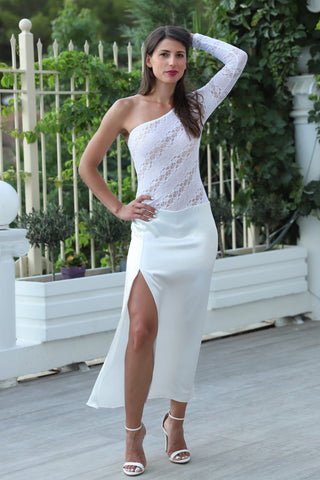 One-shoulder Wedding Tango Dress