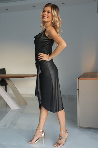 Black Metallic Tango Wrap Dress