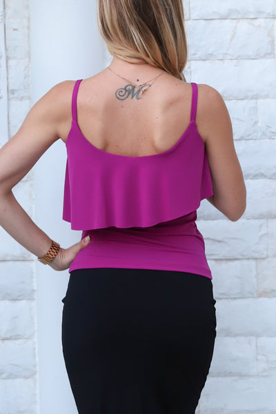 Dark Fuchsia Top With Ruffles