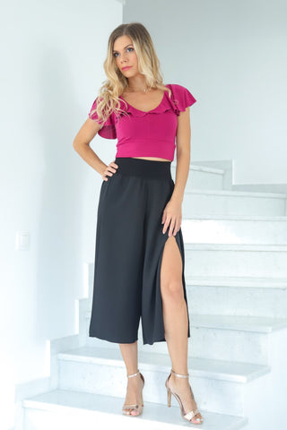 Black Wrap Cropped Culottes