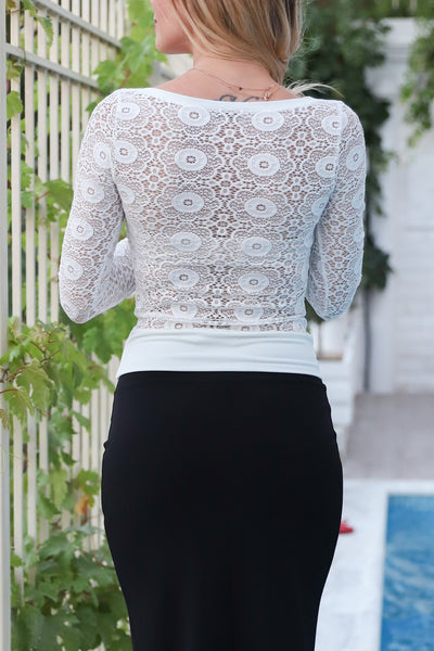 Blouse With Lace Back And Sleeves