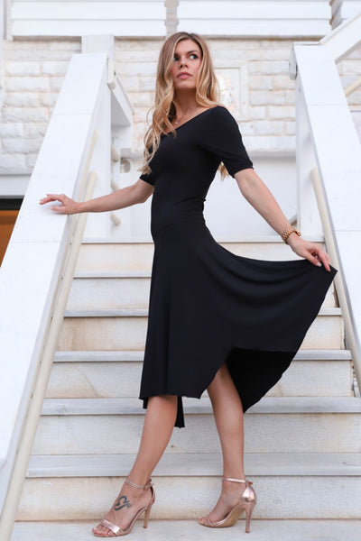 Short-sleeve Tango Dress with Side Draping