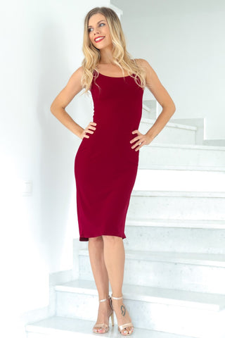 Burgundy Fishtail Tango Dress