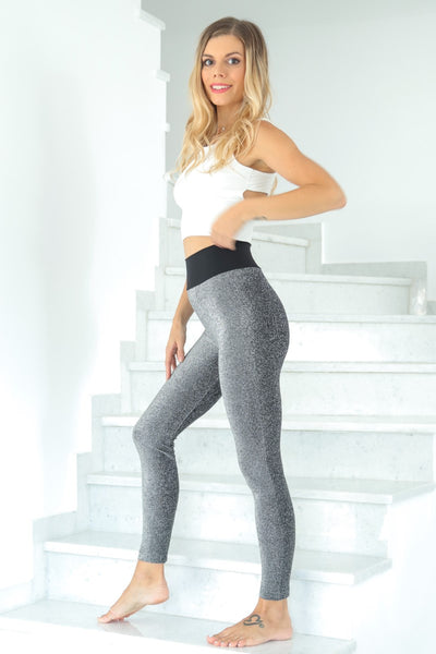Grey Lamé Dance Leggings