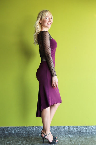Fishtail Tango Dress with Dotted Tulle