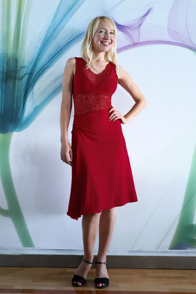 Delicate Laced Tango Dance Dress - Red