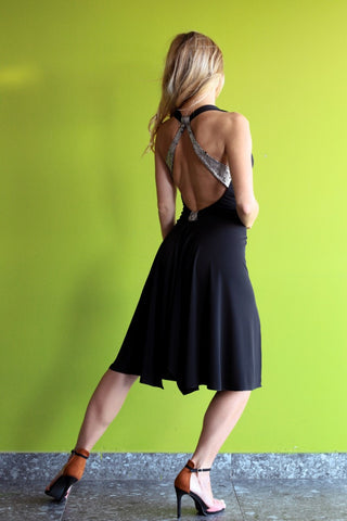 Black milonga dress with lamé straps