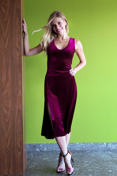 Velvet Tango Dress With Lace Back