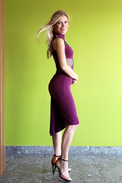 Eggplant High-Neck Fishtail Tango Dress with Dotted Tulle