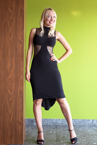 Black High-Neck Fishtail Tango Dress with Dotted Tulle