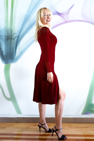 Burgundy Tango Dress with Lace Décolletage