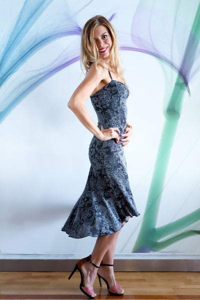 Thin-Straps Fitted Tango Dress with Mermaid Silhouette