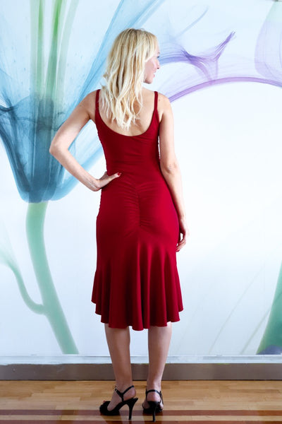 Red Fishtail Tango Dress With Front Knot