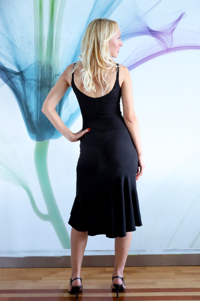 Black Fishtail Tango Dress With Front Knot