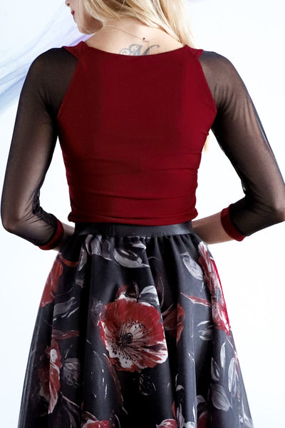 Burgundy Tango Top With Tulle Sleeves And Gatherings