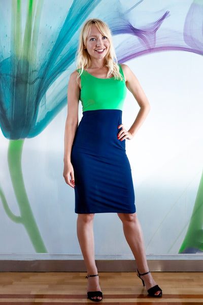 Bright Green & Dark Blue Fitted Dress