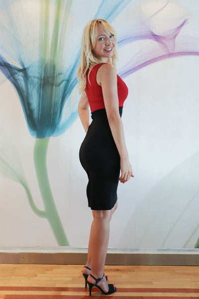 Red & Black Fitted Dress
