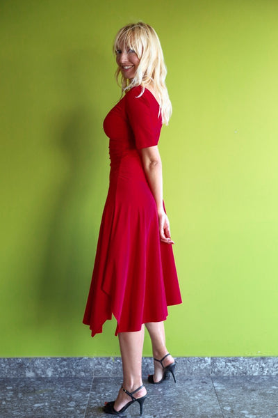 Short-sleeve Tango Dress with Side Draping - Red