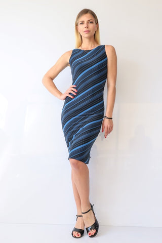 Blue & Black Striped Tango Dress