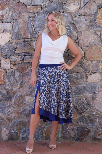 Dark Blue Airy Floral Skirt With Asymmetric Design