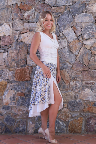 White Airy Floral Skirt With Asymmetric Design