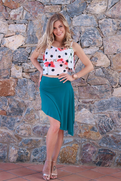 Petrol Blue Mini Asymmetric Dance Skirt