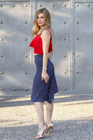 Polka Dot Skirt With Draping