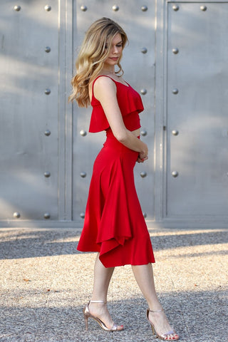 Tango Skirt With Side Draping - Red