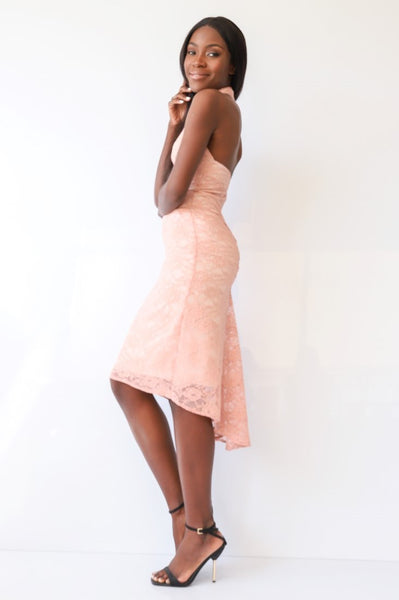 Salmon Pink Fishtail Tango Dress  With Lace