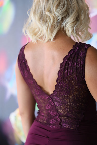 Laced Tango Dress with Mermaid Silhouette - Eggplant
