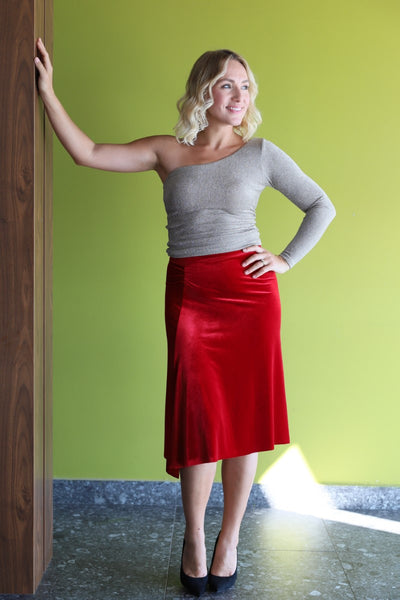 Red velvet tango skirt with gatherings and slits