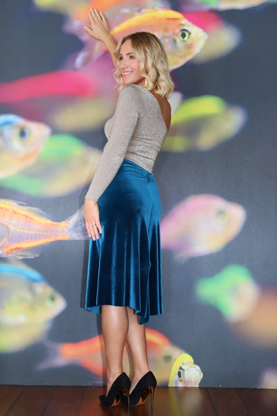 Petrol blue velvet tango skirt with gatherings and slits