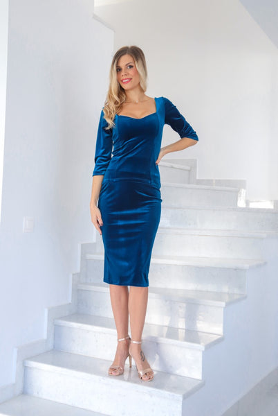 Petrol Blue Velvet Sweetheart Neckline Top