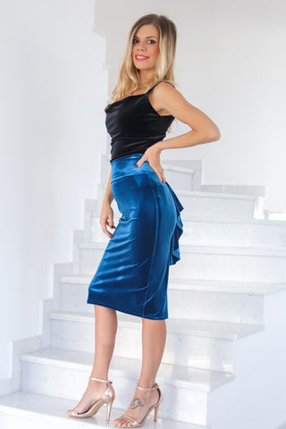 Petrol Blue Velvet Skirt With Back Ruffles