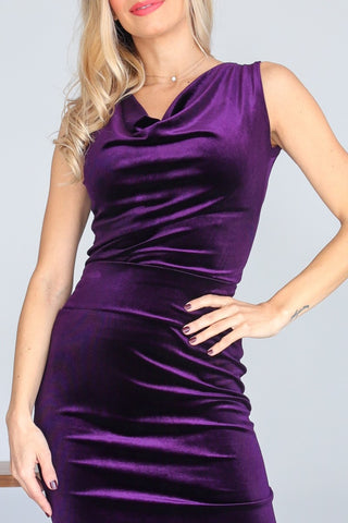 Purple Velvet Top With Draped Neck