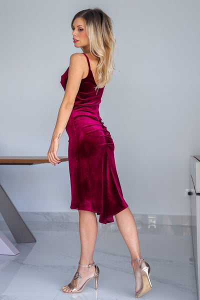 Velvet Tango Dress With Draped Neck