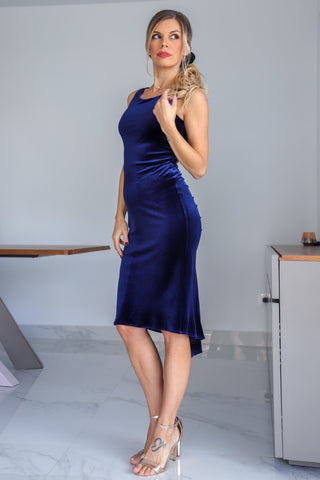 Keyhole Back Velvet Fishtail Dress