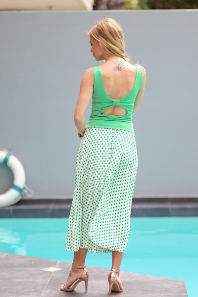 Green Polka Dot Wrap Skirt