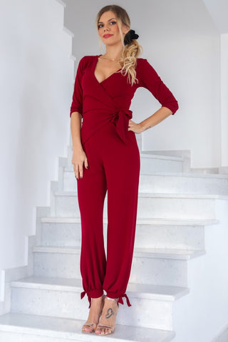 Wrap Jumpsuit With Ankle Ties