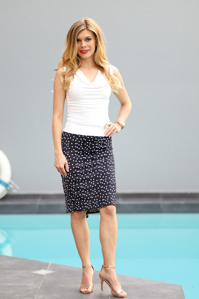 Fishtail Tango Skirt With Irregular Polka Dots