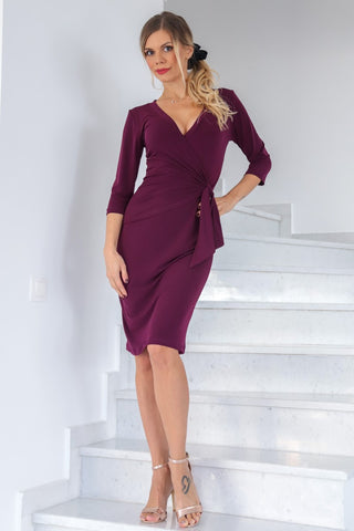 Eggplant Casual Wrap Dress