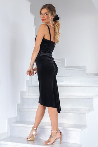 Velvet Tango Dress With Thin Straps