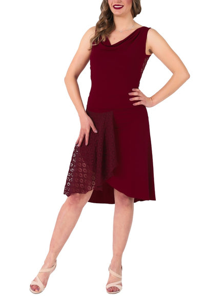 Burgundy Tango Skirt with Lace Panel