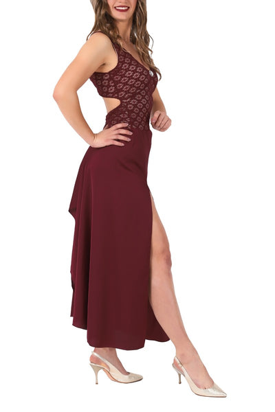 Burgundy Satin and Lace Tango Performance Dress