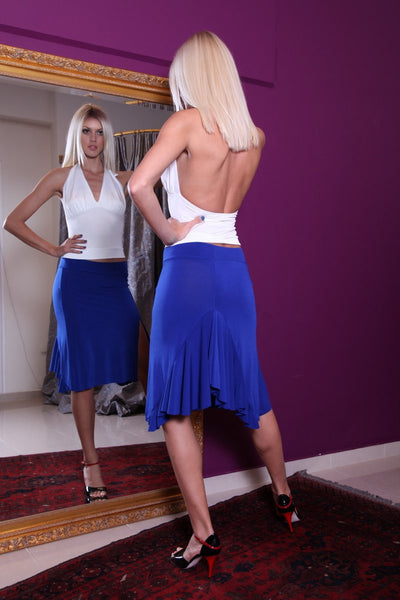 Electric Blue Tango Skirt with Back Ruffles