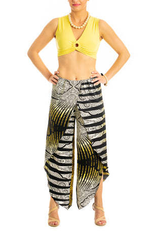 Satin wrap tango pants - yellow